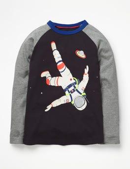 Volcanic Rock Grey Astronaut Outer Space Raglan T-shirt
