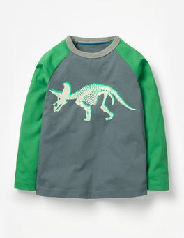 Cobble Grey Dino Skeleton Printed Raglan T-Shirt