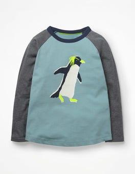Dolphin Blue Penguin Printed Raglan T-Shirt