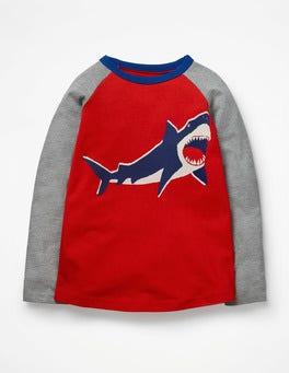 Post Box Red Shark Printed Raglan T-Shirt