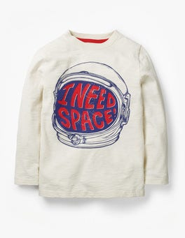 Ecru Space Helmet Blast-off Printed T-shirt