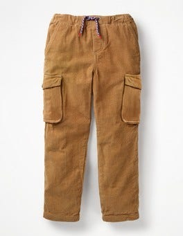 Rustic Brown Cord Utility Cargo Trousers