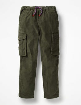 Swamp Green Cord Utility Cargo Trousers