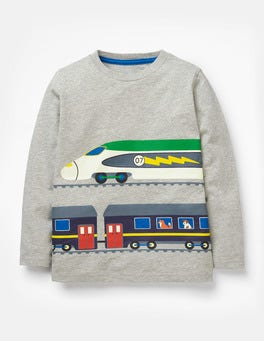 Grey Marl Trains Printed Vehicle T-shirt