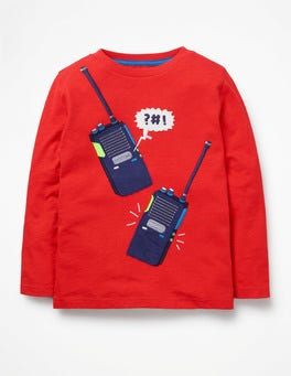Post Box Red Walkie Talkies Adventure Appliqué T-shirt