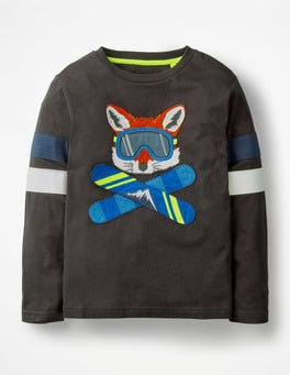 Volcanic Grey Snowboarding Fox Cool Animals Appliqué T-shirt