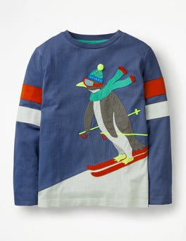 Starboard Blue Skiing Penguin Cool Animals Appliqué T-shirt