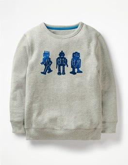 Grey/Daphne Blue Foil Robot Adventure Toy Sweatshirt