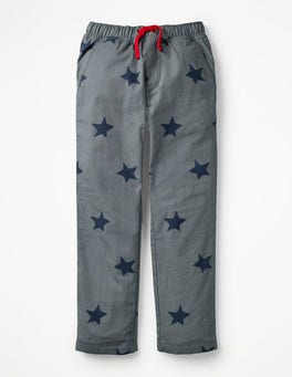 Cobble Grey Star Lined Pull-on Trousers