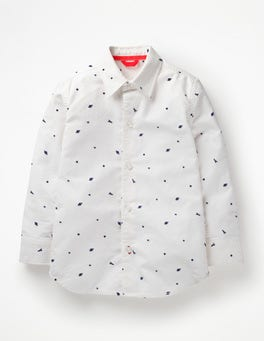 White Outer Space Space Print Party Shirt