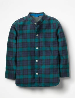 Moringa Green/Daphne Blue Grandad Collar Shirt