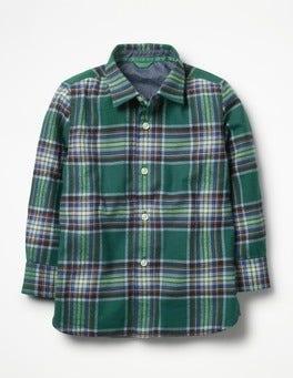 Scots Pine Green/School Navy Brushed Check Shirt