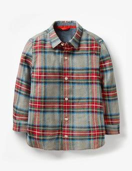 Grey Marl/Salsa Red Brushed Check Shirt