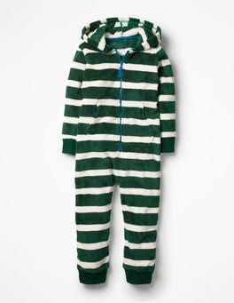 Scots Pine Green/Ecru Stripe Cosy Fleece All-in-one