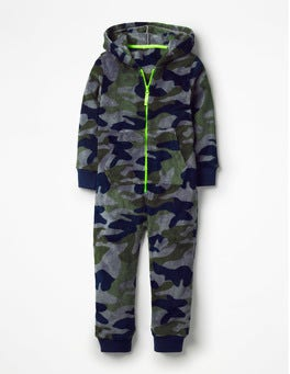 Raft Grey/Swamp Green Camo Cosy Fleece All-in-one