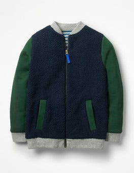 School Navy/Scots Pine Green Borg Jacket