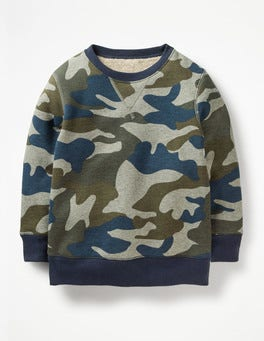 Grey Marl/Swamp Green Camo Shaggy-lined Sweatshirt
