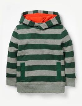 Scots Pine Green/Grey Marl Stripy Hoodie