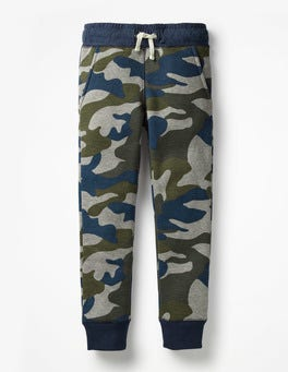Grey Marl/Swamp Green Camo Shaggy-lined Joggers