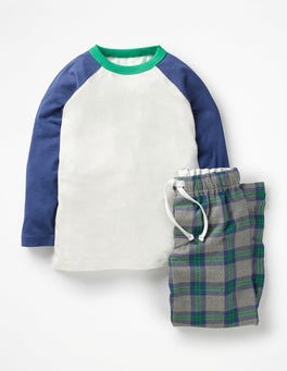 Grey Marl/Crayon Green Check Pyjama Set