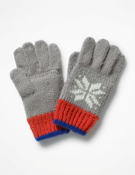 Grey Marl Fair Isle Gloves