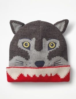 Grey Marl Wolf Hat