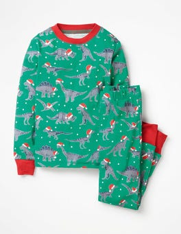 Watercress Green Dinosaurs Glow-in-the-dark Pajamas