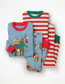 Wren Blue Reindeer Party Twin Pack Long John Pyjamas