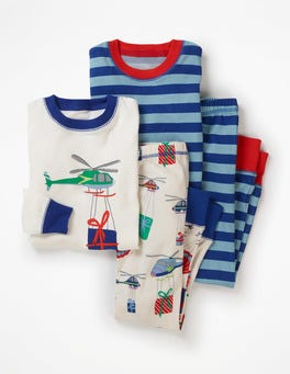 Ecru Ho Ho Helictopters Twin Pack Long John Pyjamas