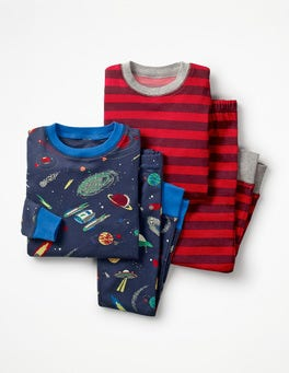 School Navy Space Invasion Twin Pack Long John Pajamas