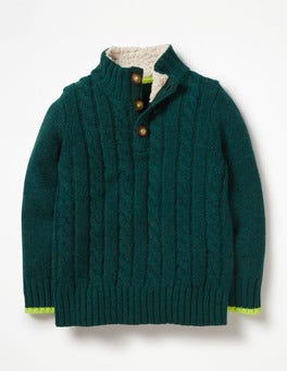 Storm Green Chunky Button Neck Jumper