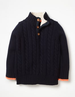 School Navy Chunky Button Neck Jumper