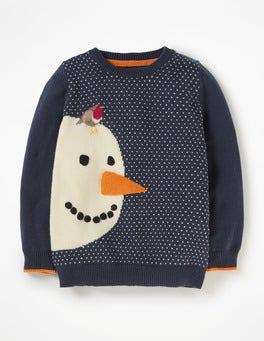 School Navy Snowman Festive Crew Sweater