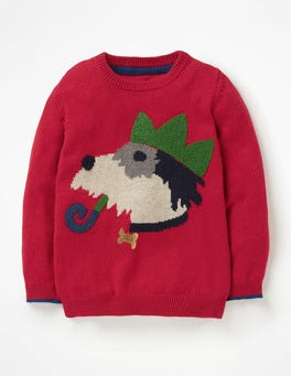 Flame Red Sprout Festive Crew Sweater
