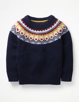 School Navy Fair Isle Chunky Fair Isle Crew Sweater