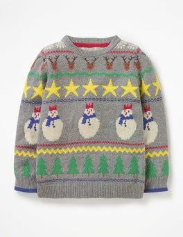 Grey Marl Fair Isle Snowman Festive Fair Isle Crew Sweater