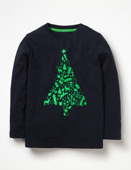 Midnight Blue Christmas Tree Printed Festive T-shirt