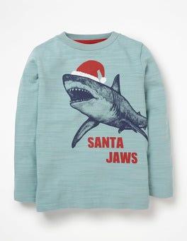 Dolphin Blue Santa Jaws Printed Festive T-shirt