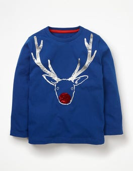 Orion Blue Reindeer Festive Sequin T-shirt