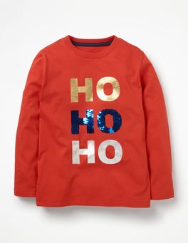 Post Box Red HO HO HO Festive Sequin T-shirt