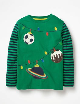 Watercress Green Baubles Festive T-shirt