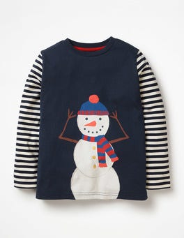 School Navy Snowman Festive T-shirt
