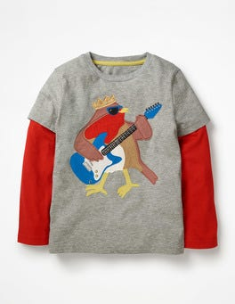 Grey Marl Rockin' Robin Party Animal T-shirt