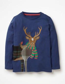 Starboard Blue Deer Patchwork Animal T-shirt