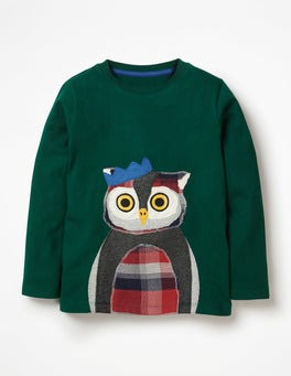Scots Pine Green Owl Patchwork Animal T-shirt