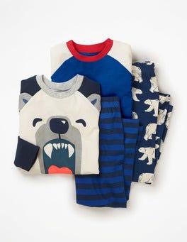 School Navy Polar Bear Roarsome Twin Pack Pyjamas