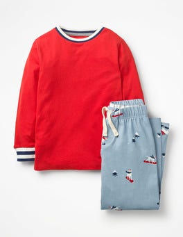 Wren Blue Snowboard Dogs Printed Pyjama Set