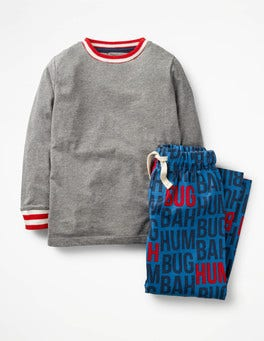 School Navy Bah Hum Bug Printed Pyjama Set