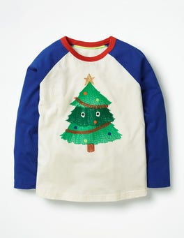 Ecru Tree Monster Festive Superstitch Raglan