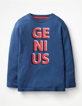 Lagoon Blue Genius Glow-in-the-dark Word T-shirt